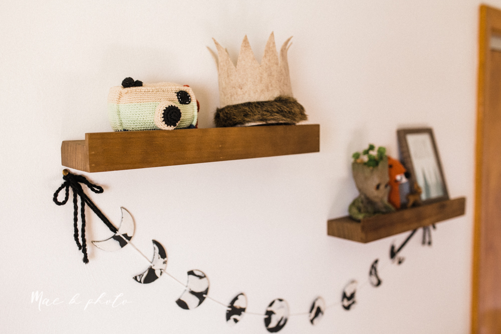 earthy gender neutral woodsy woodland themed nursery with game of thrones, guardians of the galaxy, diy crafts, where the wild things are and photography details and decor photographed by youngstown wedding photographer mae b photo-9.jpg