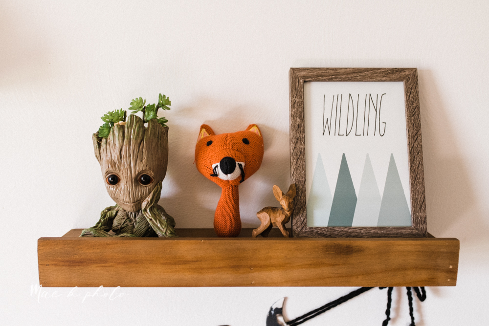 earthy gender neutral woodsy woodland themed nursery with game of thrones, guardians of the galaxy, diy crafts, where the wild things are and photography details and decor photographed by youngstown wedding photographer mae b photo-8.jpg