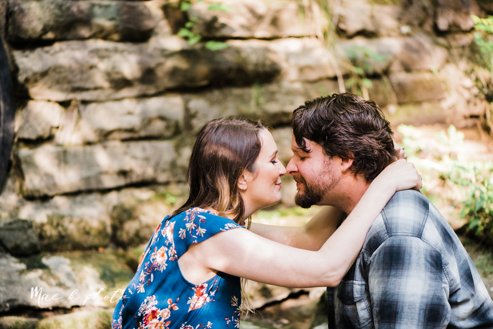 kirsten and noll's intimate woodsy engagement session at lanterman's mill in mill creek park in youngstown ohio photographed by youngstown wedding photographer mae b photo-27.jpg
