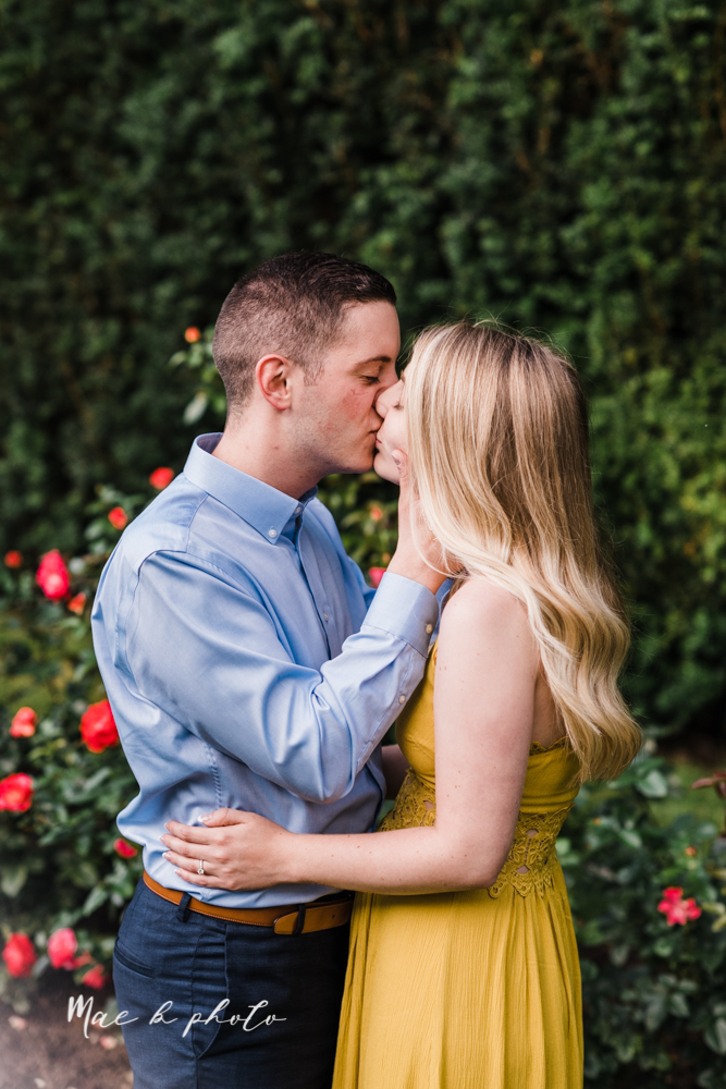 julie and jared's romantic summer garden engagement session at rivers fellowside gardens in mill creek park in the rose gardens in youngstown ohio photographed by youngstown wedding photographer mae b photo-28.jpg