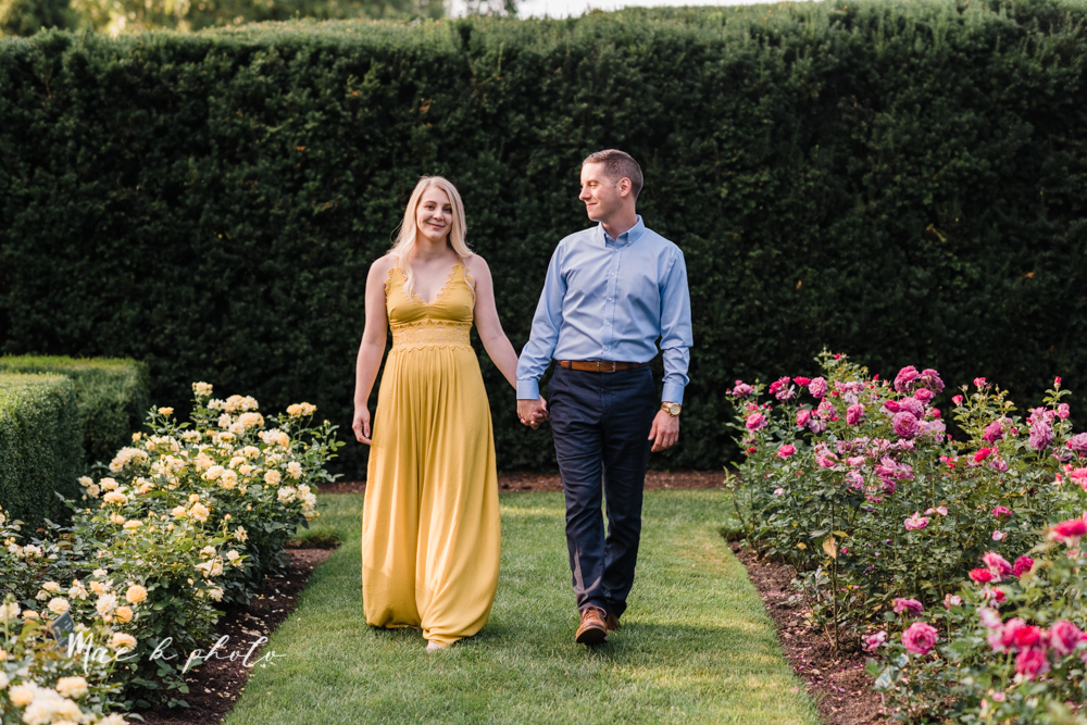 julie and jared's romantic summer garden engagement session at rivers fellowside gardens in mill creek park in the rose gardens in youngstown ohio photographed by youngstown wedding photographer mae b photo-31.jpg