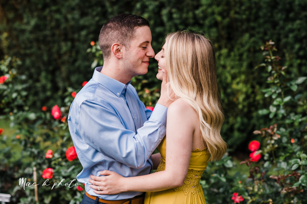 julie and jared's romantic summer garden engagement session at rivers fellowside gardens in mill creek park in the rose gardens in youngstown ohio photographed by youngstown wedding photographer mae b photo-26.jpg