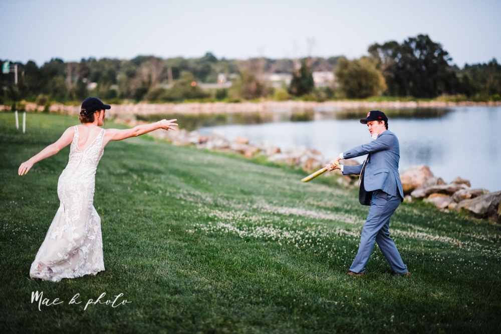 christina and michael's baseball themed midwest wedding at drake's landing and river's fellowside gardens in mill creek park in  youngstown ohio and holy family parish in poland ohio photographed by youngstown wedding photographer mae b photo-135.jpg
