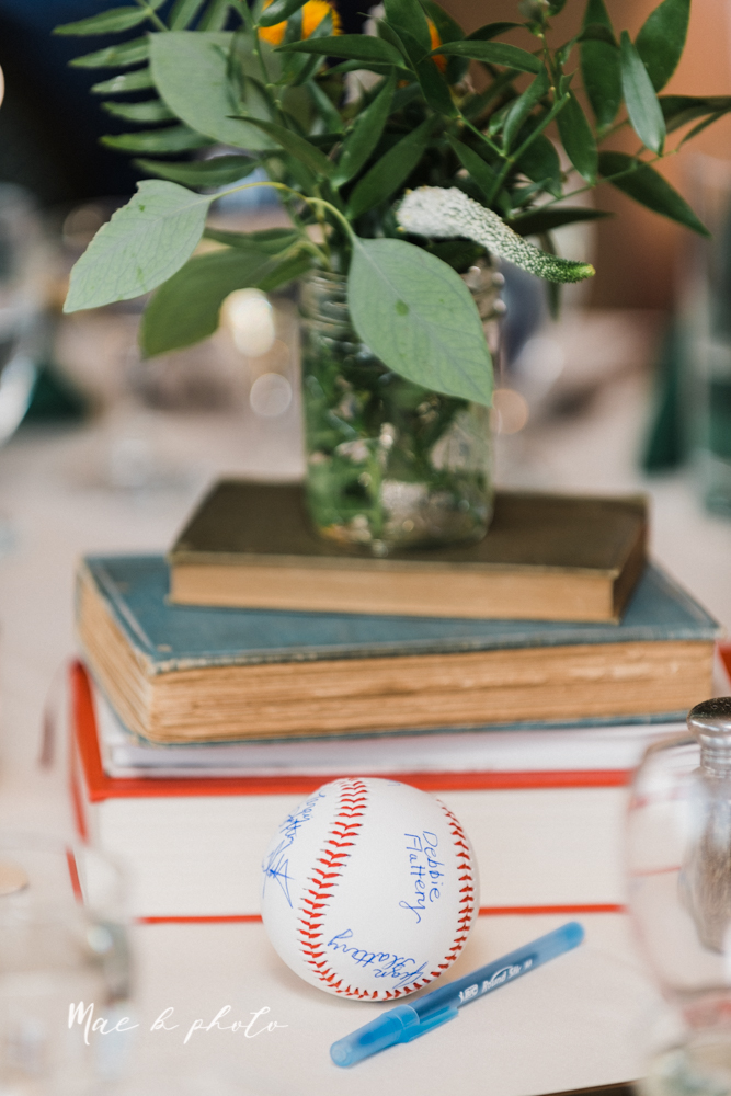 christina and michael's baseball themed midwest wedding at drake's landing and river's fellowside gardens in mill creek park in  youngstown ohio and holy family parish in poland ohio photographed by youngstown wedding photographer mae b photo-111.jpg