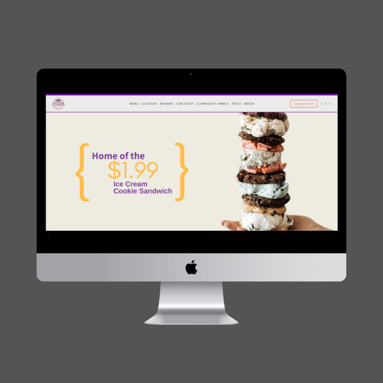 SWEETS & CREAM - Local ice cream cookie sandwich and bake shop - full design and development.