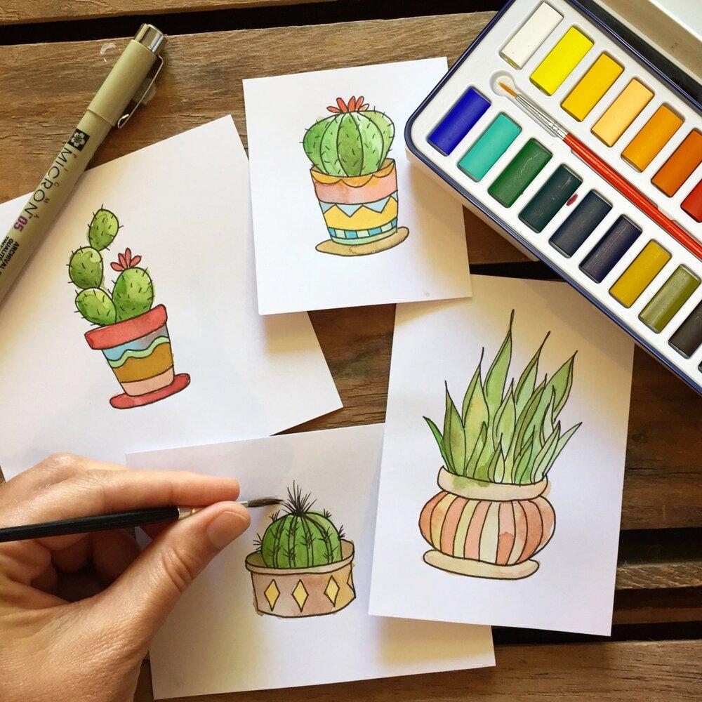Diy Watercolor Kit Instruction Book Supplies Wildflower Art Studio