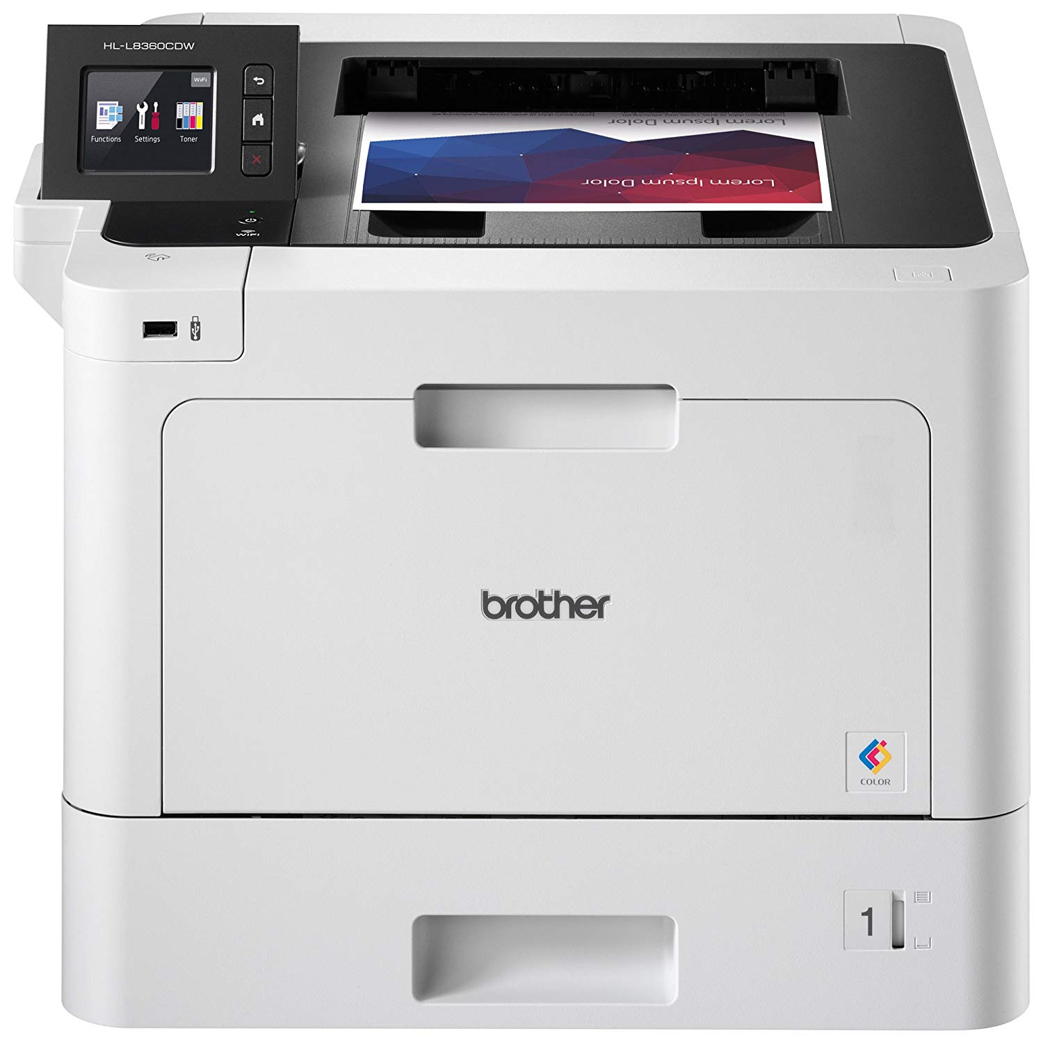 Brother HL-L8360CDW Color Laser Printer.NOT  Prints in Black AND Color ONLY. DOES NOT   COPY, SCAN OR FAX.  A terrific upgrade to the simple Monotone Brother Laser Printer with Color. Bit pricey, but an incredible, reliable Laser Toner printer.  Costs around $340