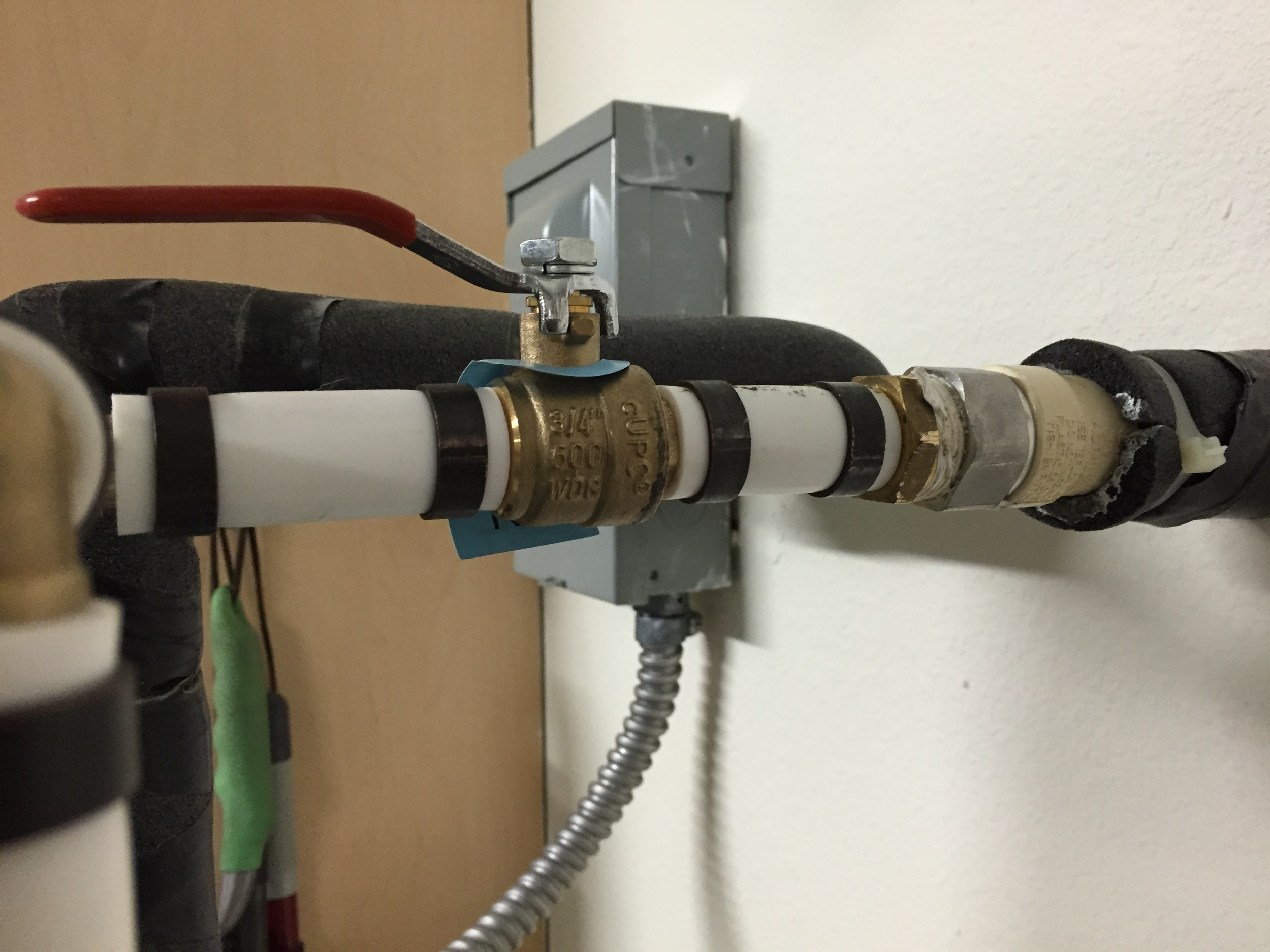 Pex pipe that we put in because the cpvc ball valve had failed.  With pex we use brass fittings and valves and copper crimp rings.
