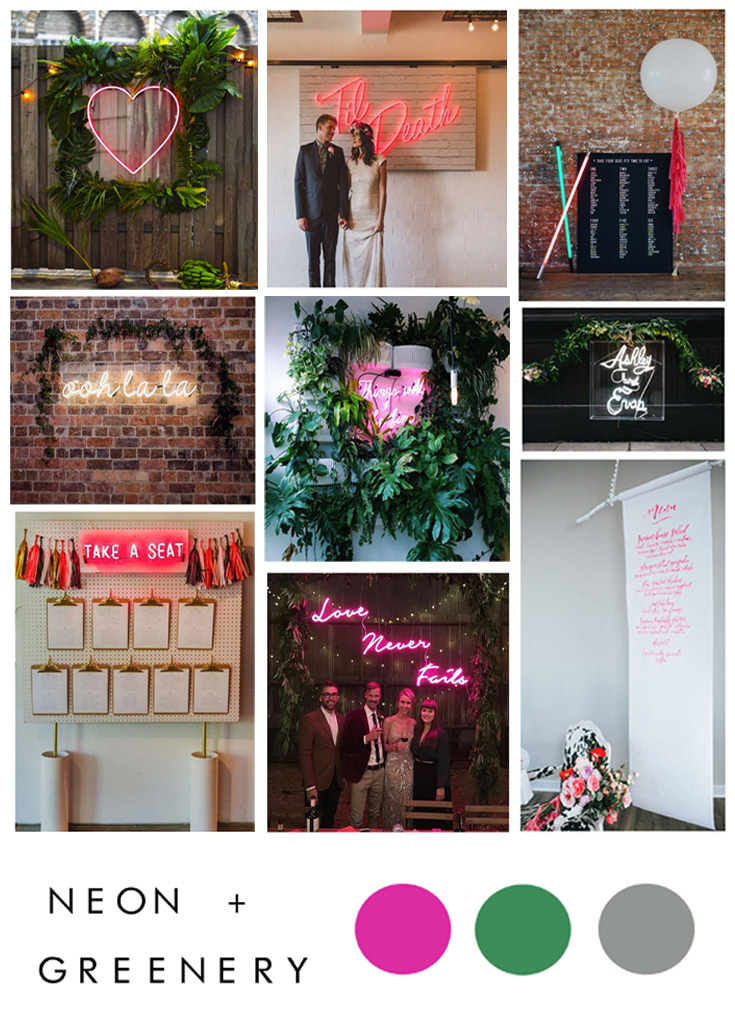 neon and greenery wedding inspiration