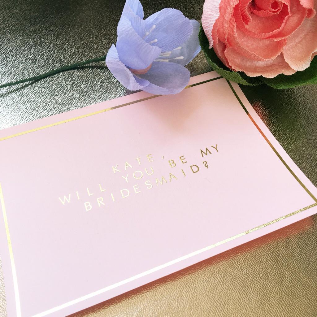 pink wedding bridesmaids cards