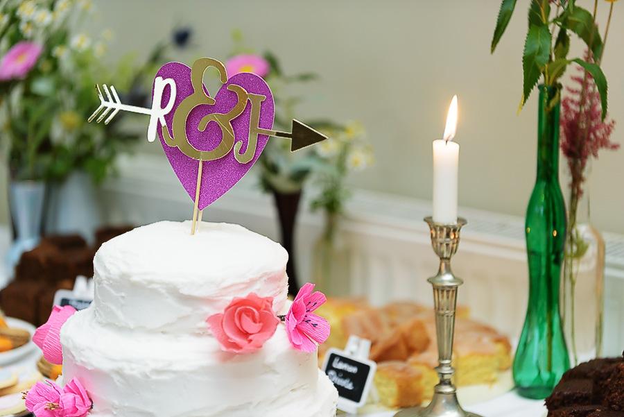 pink wedding cake topper