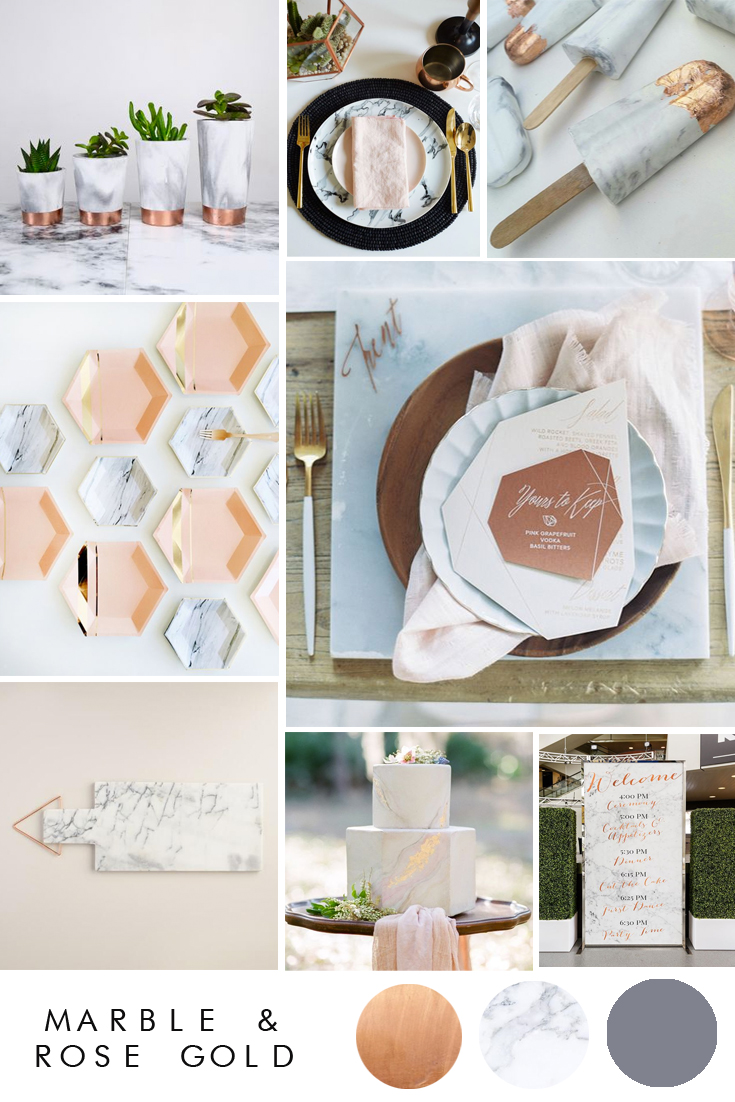 Marble and copper wedding theme.