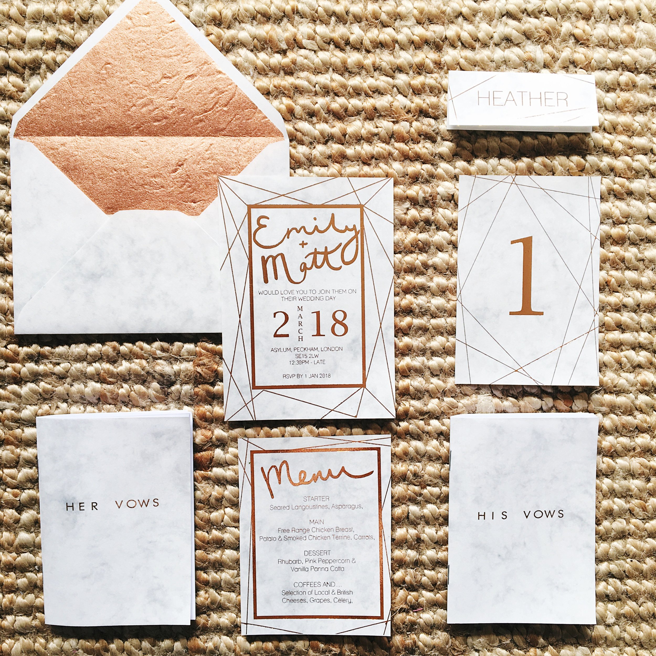 Marble and Rose Gold Wedding Stationery.