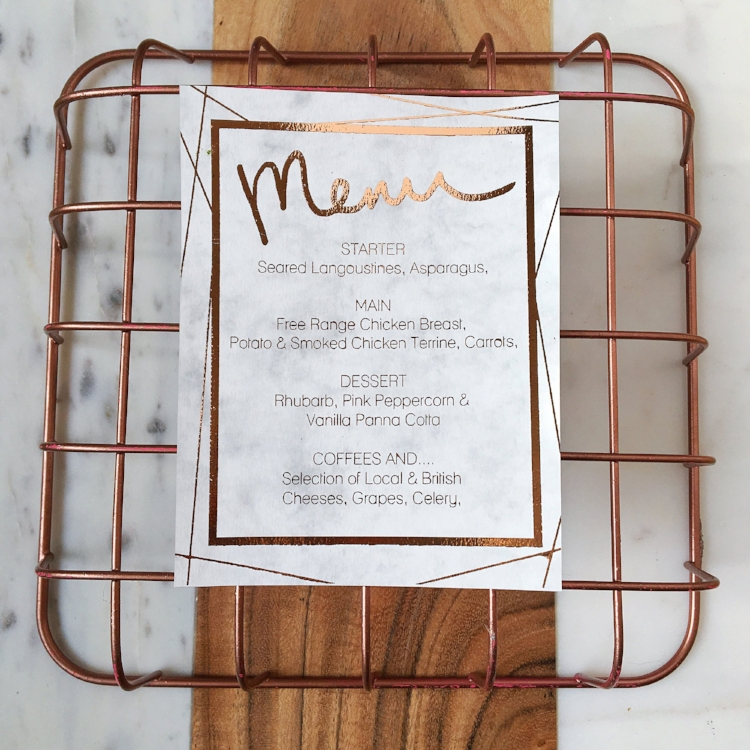 Marble and rose gold menu card.