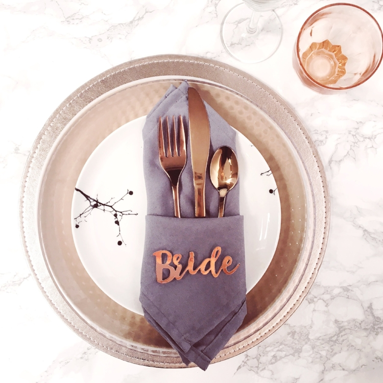 Marble and Rose Gold Place Settings.