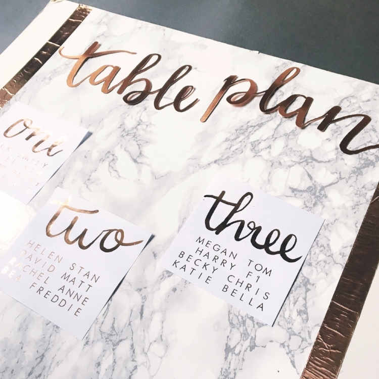 Marble and Copper Table Plan Display.