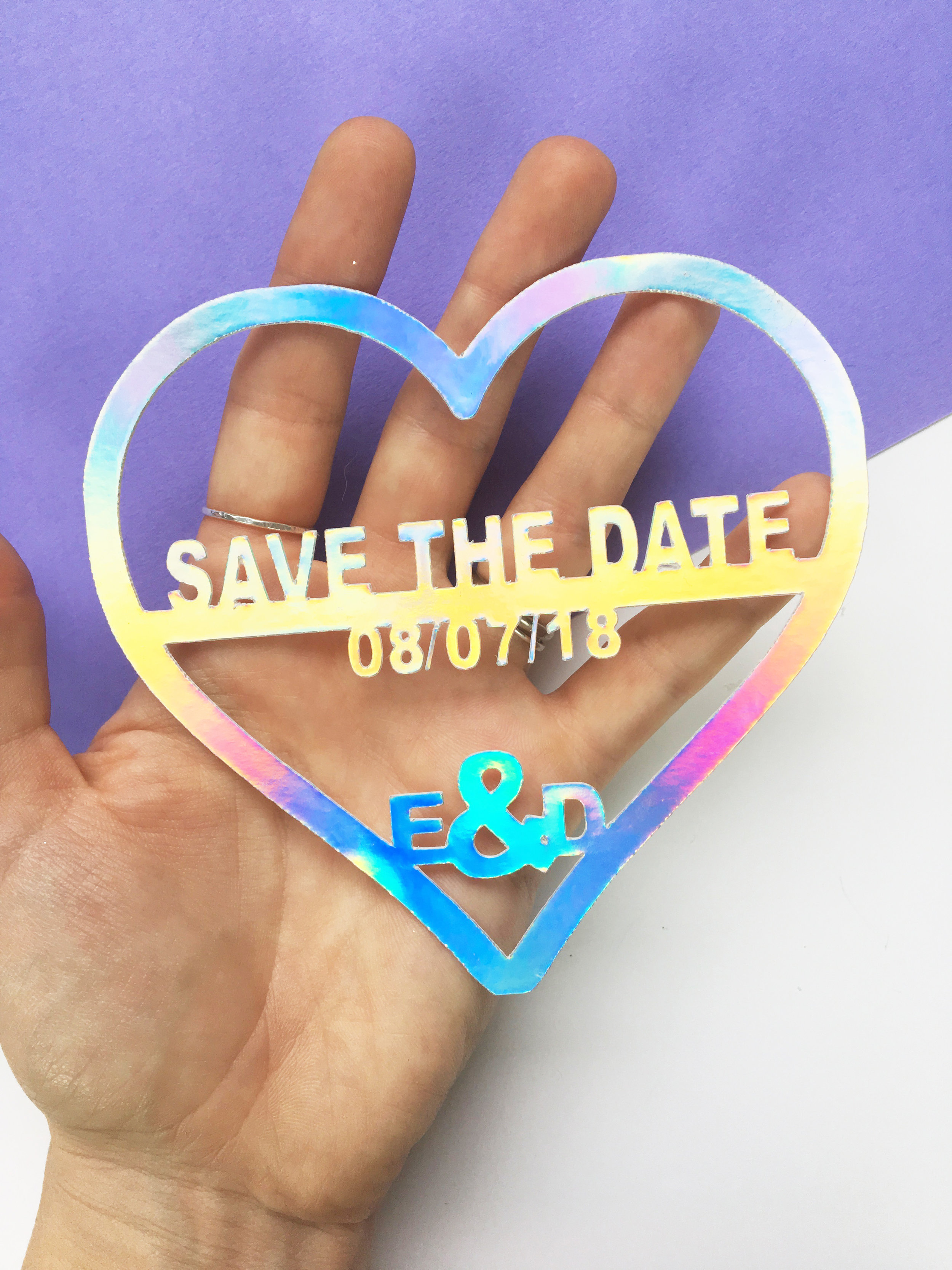 holographic wedding save the date