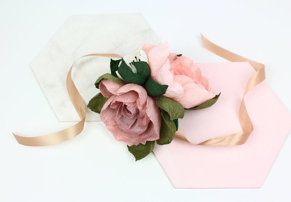 bridal paper corsage