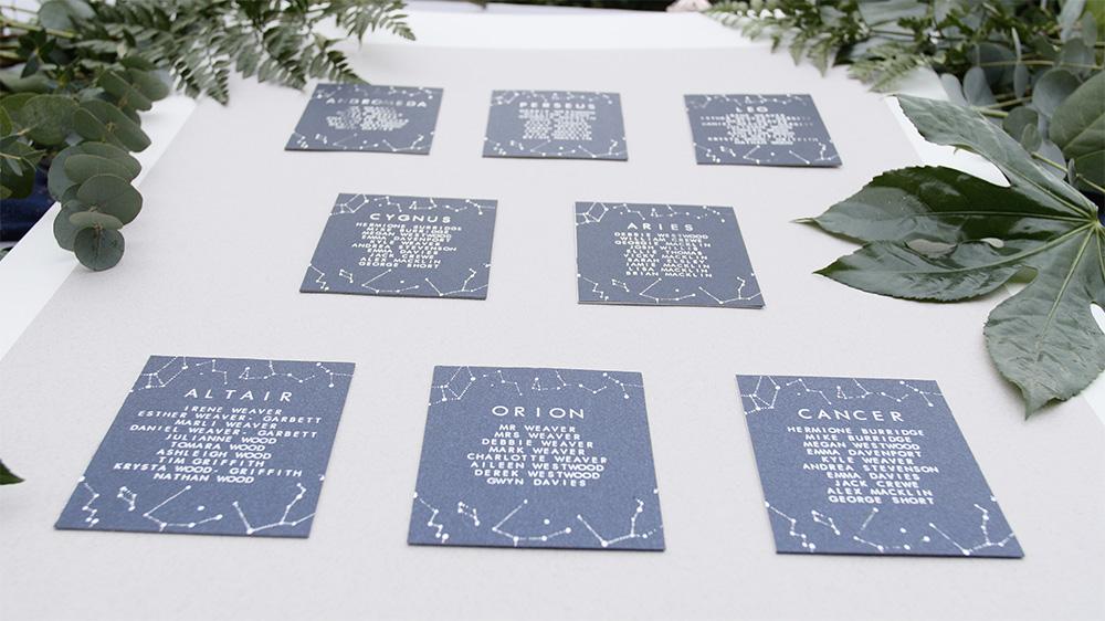 Celestial table cards