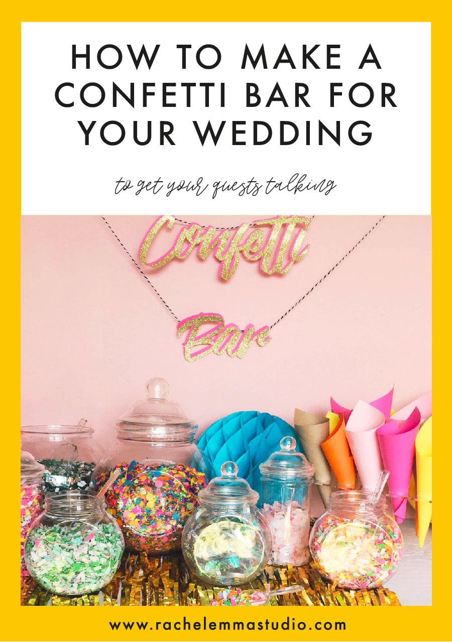 diy wedding confetti bar