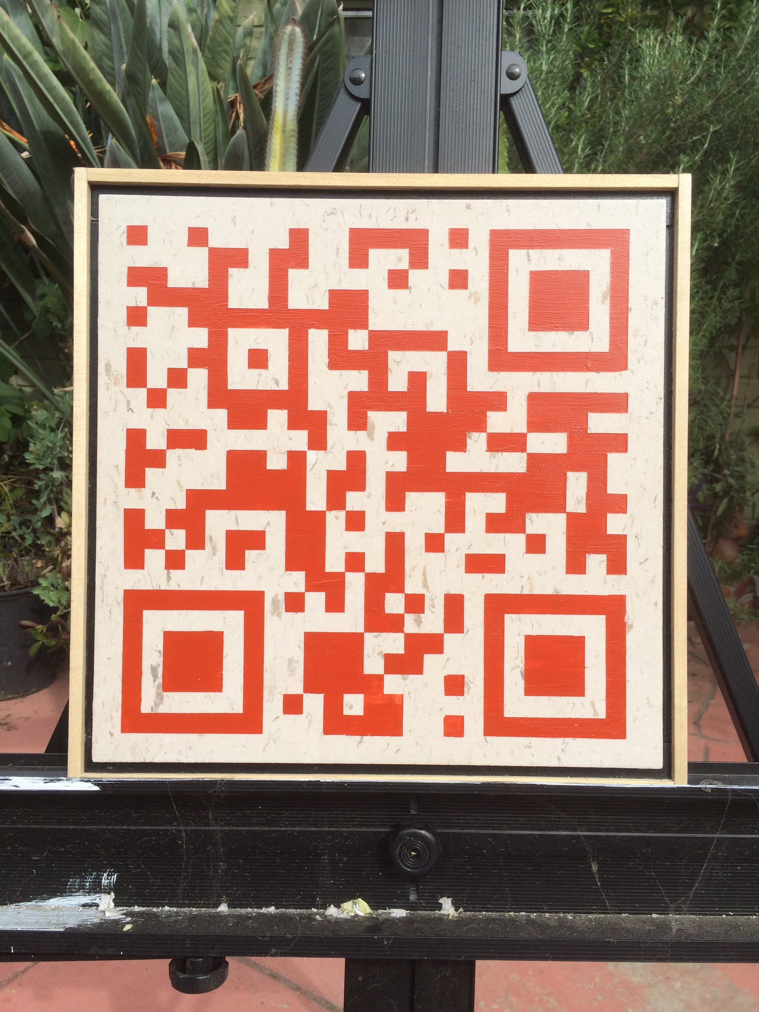 QR code that connects to images captured by the SDO detector AIA 304. (photo credit: John Robert Taylor)