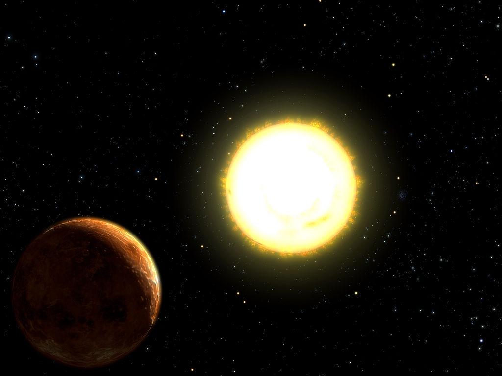 Artist depiction of 55 Cancri e orbiting its star. (Source: University of Texas, NSF, NASA,  http://antwrp.gsfc.nasa.gov/apod/ap040901.html )
