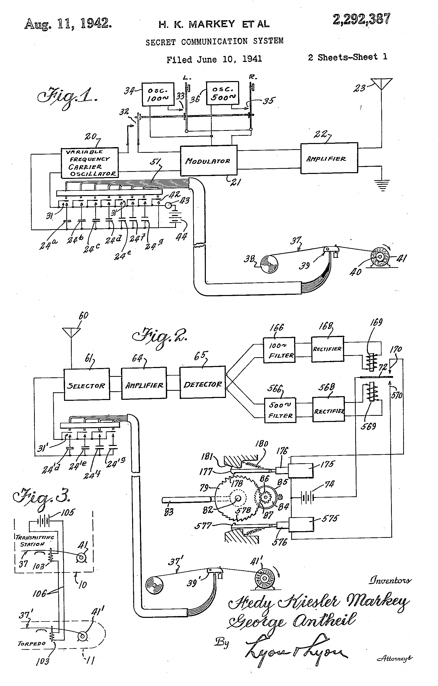 """[Figure 3] Figures 1-3 from Hedy Lamarr and George Antheil's patent for a """"Secret Communication System"""" Image Source:  U.S. Patent No. US2292387 A     [6] ."""