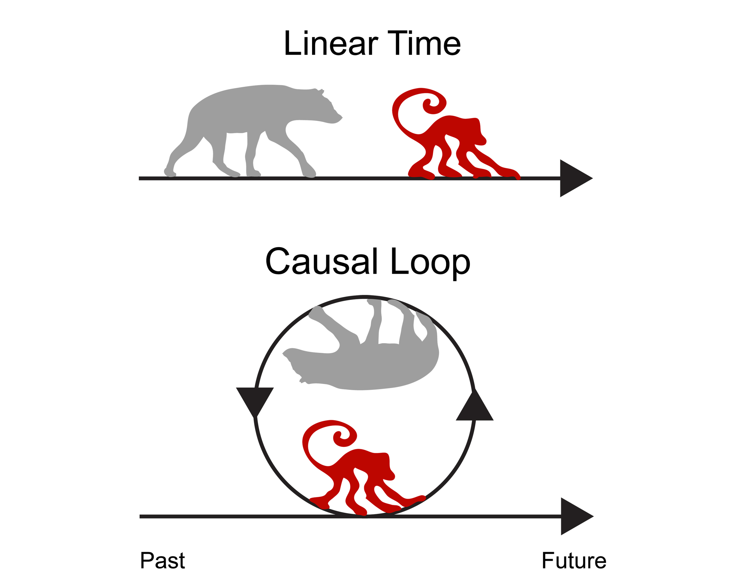 Different ways we can conceptualize time: linear versus closed causal loop. Original artwork by  Jennifer Lovick .