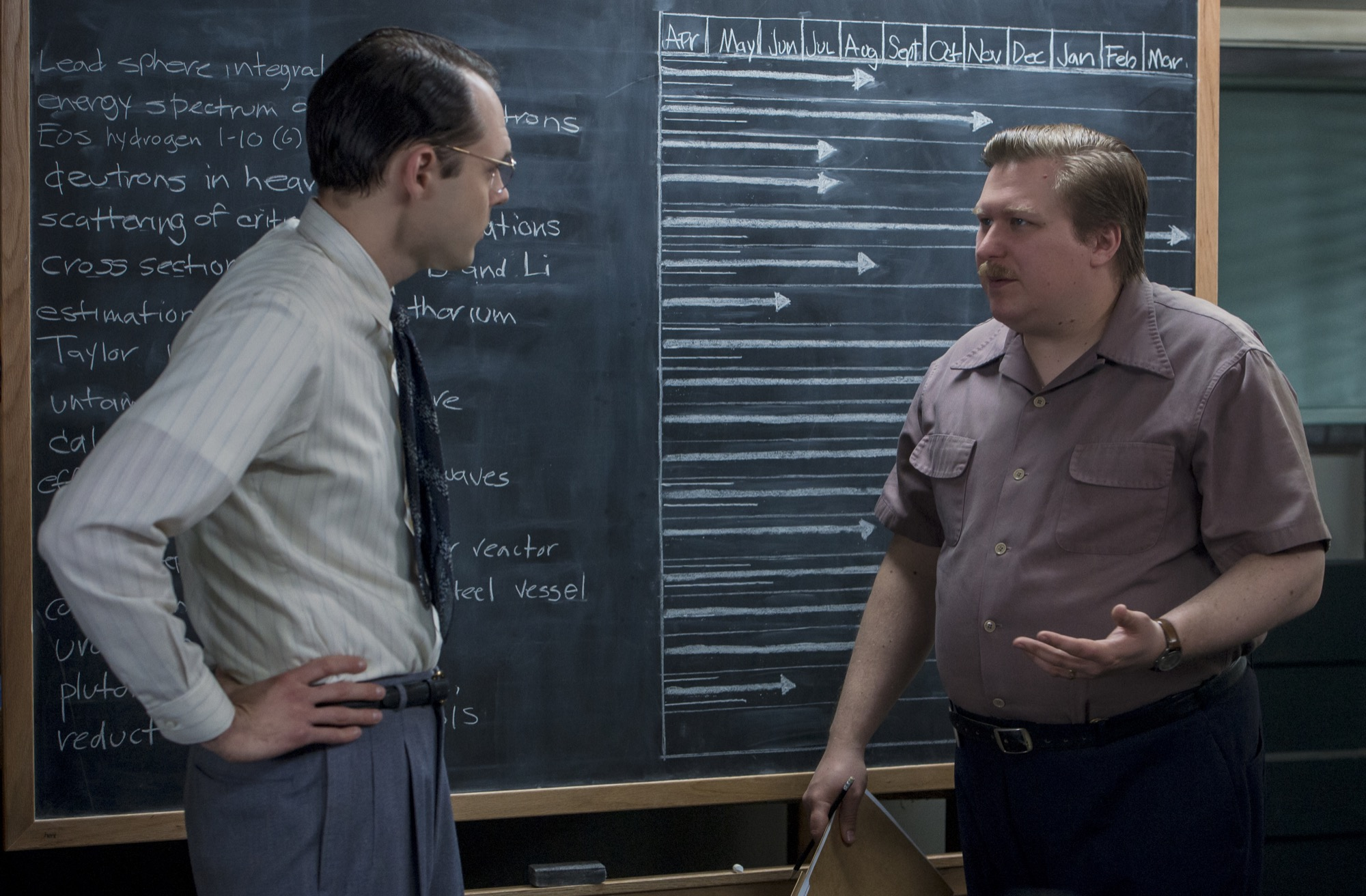 """Jim Meeks (Christopher Denham) and Louis """"Fritz"""" Fedowitz (Michael Chernus), two of the physicists working on the atomic bomb at Los Alamos. (Photo credit: Skydance Media/WGN America)"""