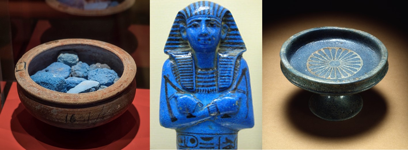 The ancient Egyptians developed the first synthetic pigment, Egyptian Blue, seen here as a pigment (left), in a figurine (center), and in pottery (right). Image credits:  Dan Diffendale  licensed under  CC BY-NC-SA 2.0  (left),  abrinsky  licensed under  CC BY-NC-SA 2.0  (center), and  Walters Art Museum  licensed under  CC BY-SA 3.0  (right).