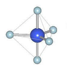 Figure 1: A trigonal bipyramid arrangement of atoms has an atom in the center, in this case manganese, and other atoms, in this case oxygens, surrounding it such that three of them lie in the same plane as the center atom and the two other atoms are directly above and below the center atom, thus creating the shape of two pyramids with triangle bases sitting on top of each other. Image credit: Oregon State University licensed under  CC BY-SA 2.0 .