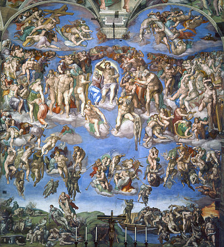 Michelangelo used the fading-prone pigment, ultramarine, to create his  The Last Judgement  fresco in the Sistine Chapel. Image credit: Public domain.