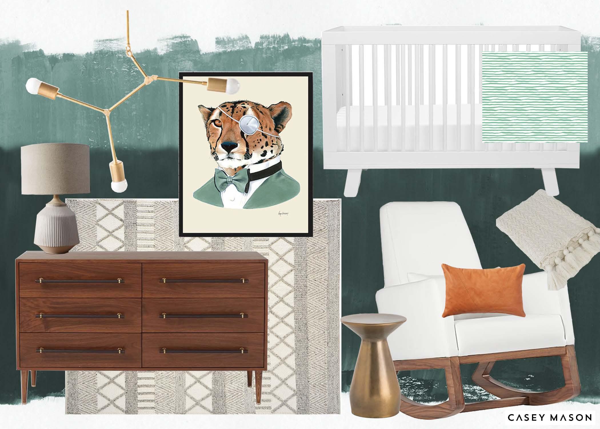 Casey Mason Interiors | Jungle-y Modern Nursery moodboard
