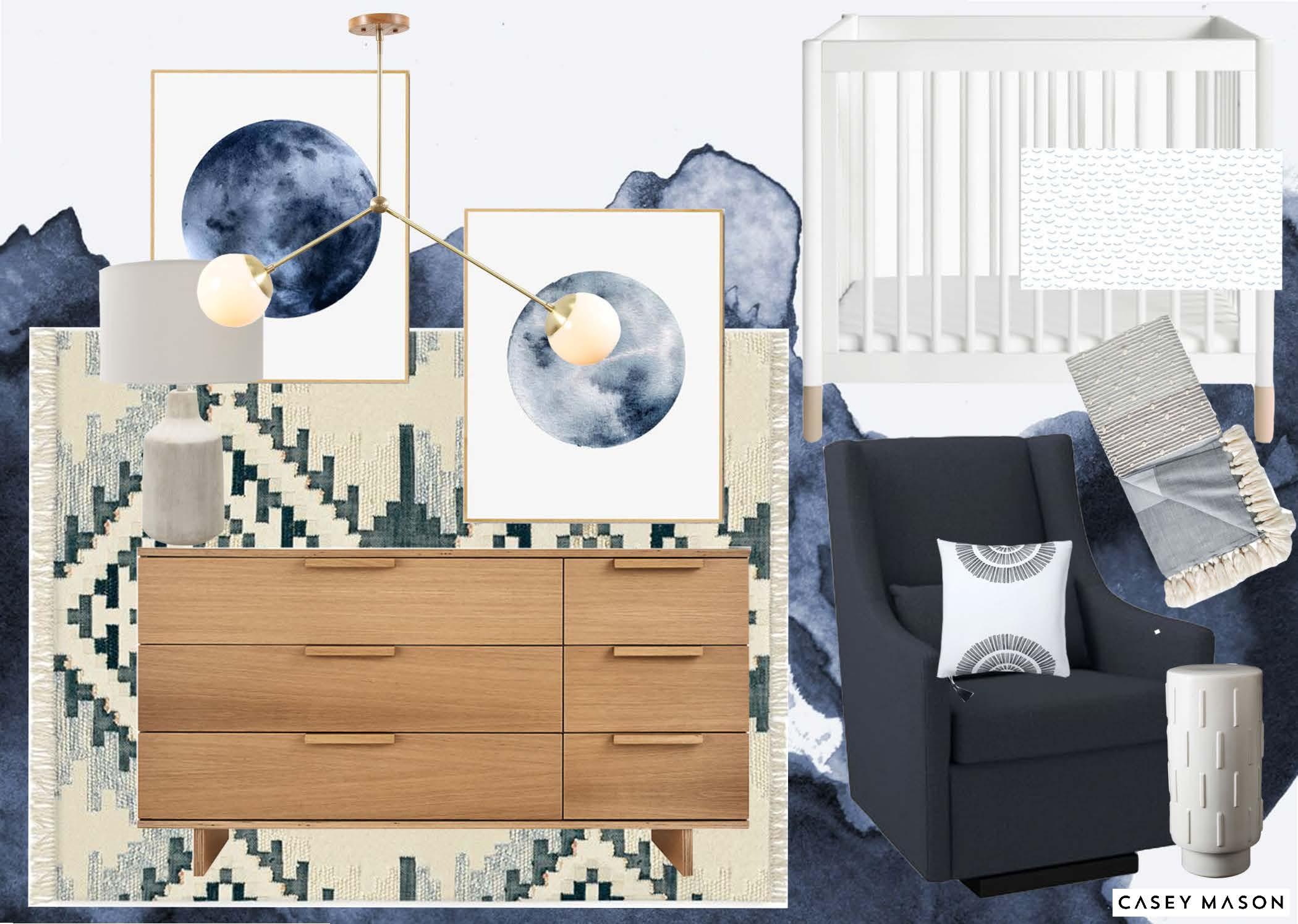 Casey Mason Interiors | Blue Moon nursery moodboard