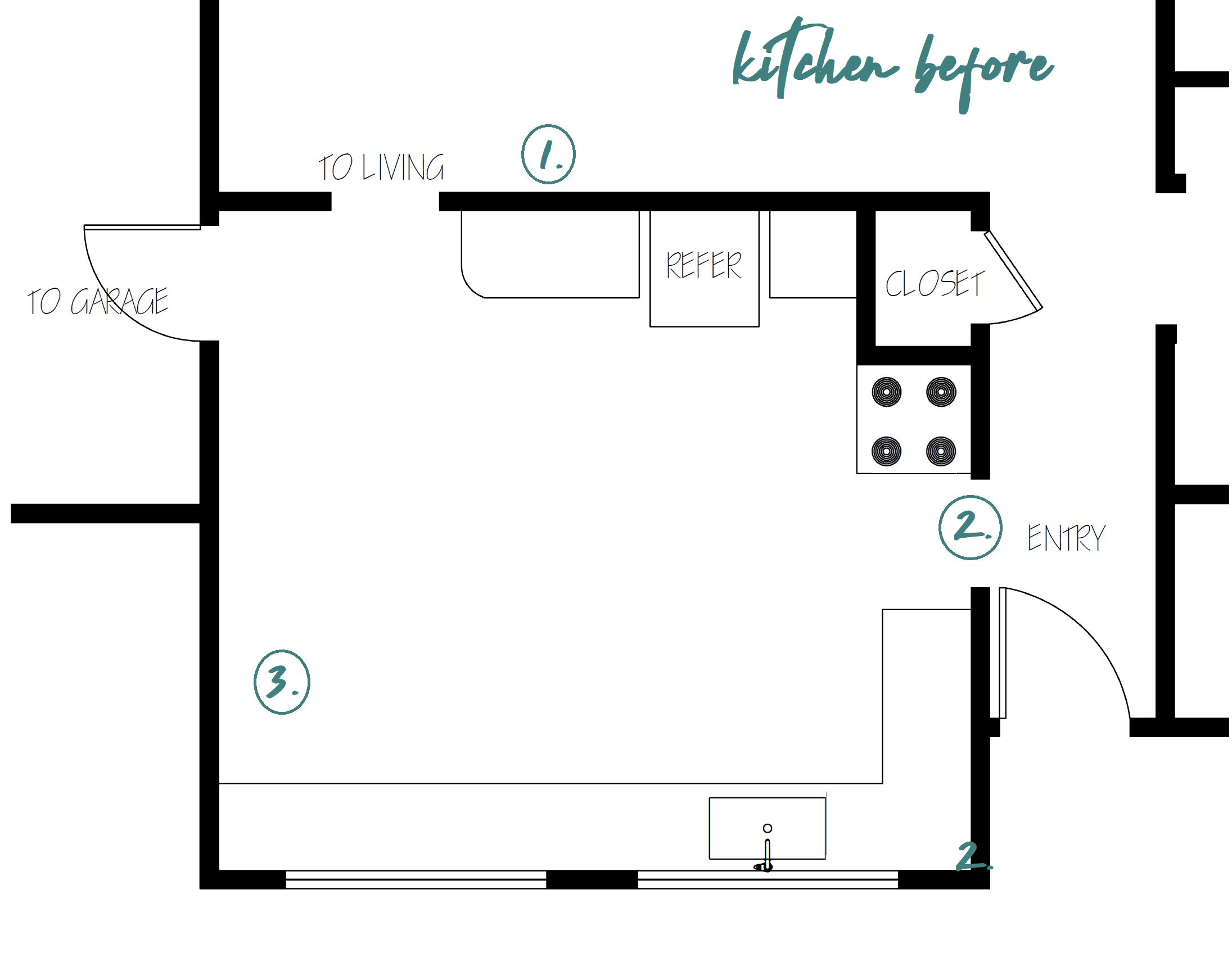 Casey Mason Interiors | KITCHEN FLOOR PLAN BEFORE