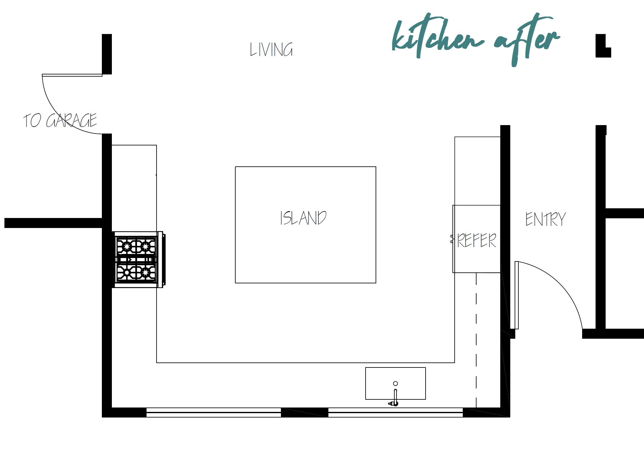 Casey Mason Interiors | KITCHEN AFTER FLOOR PLAN