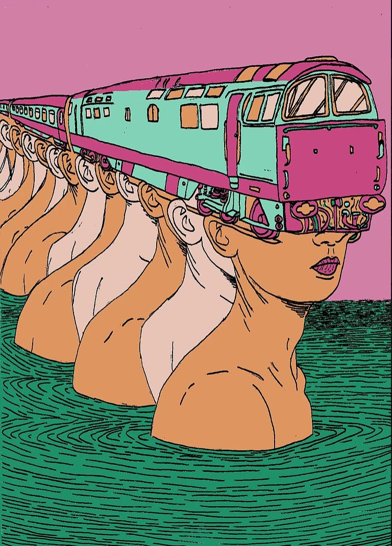 Surreal Train Illustration