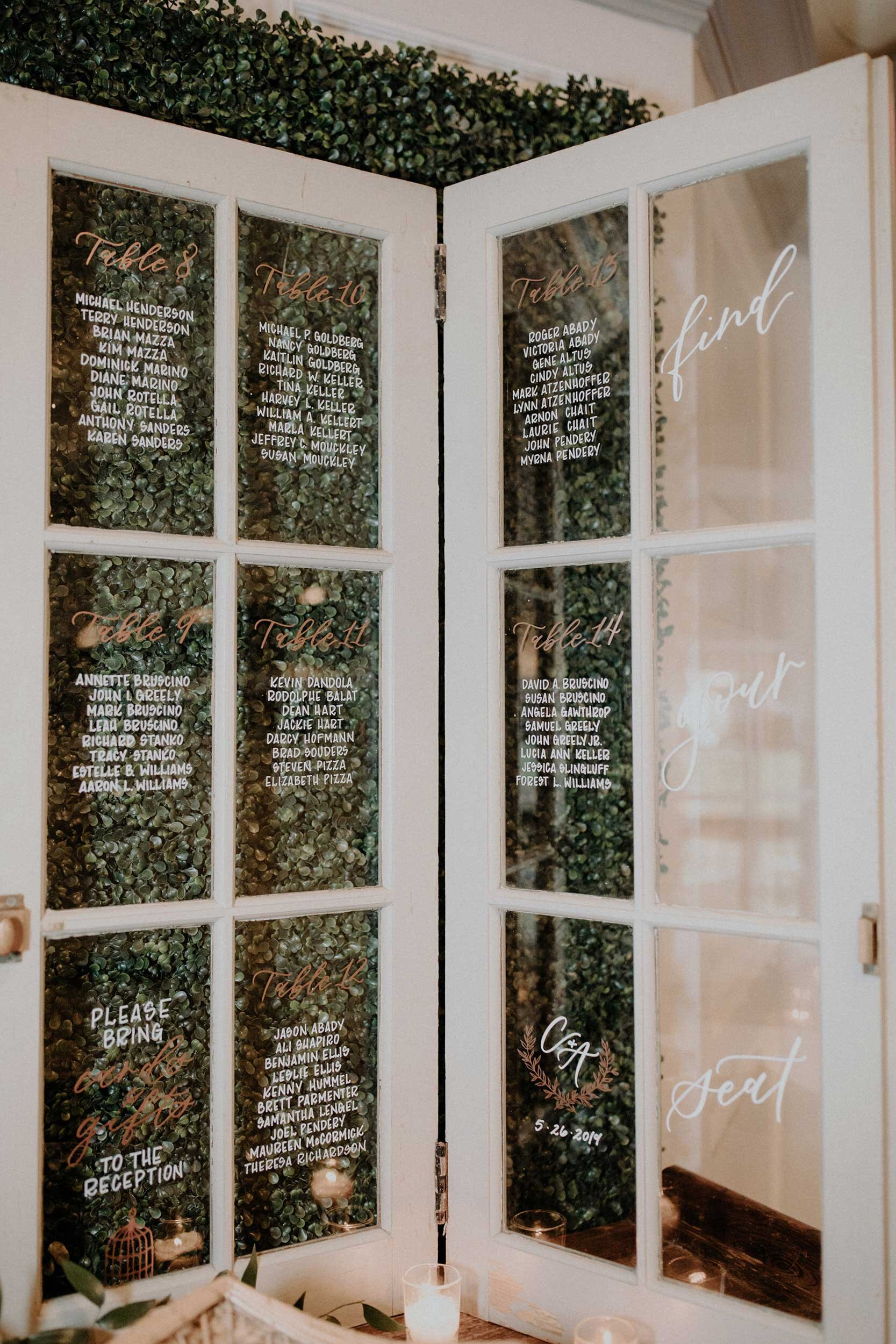 Seating Chart Vs Escort Cards Vs Place Cards Hoboken New Jersey Wedding Calligraphy