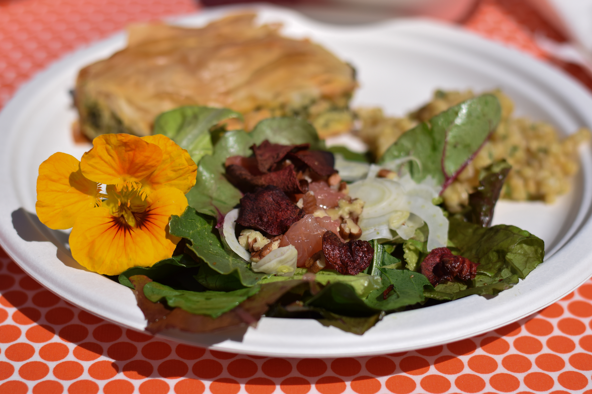 A farm-to-table meal prepared by the Ajo Center for Sustainable Agriculture, prepared with produce grown on-site at the Conference Center