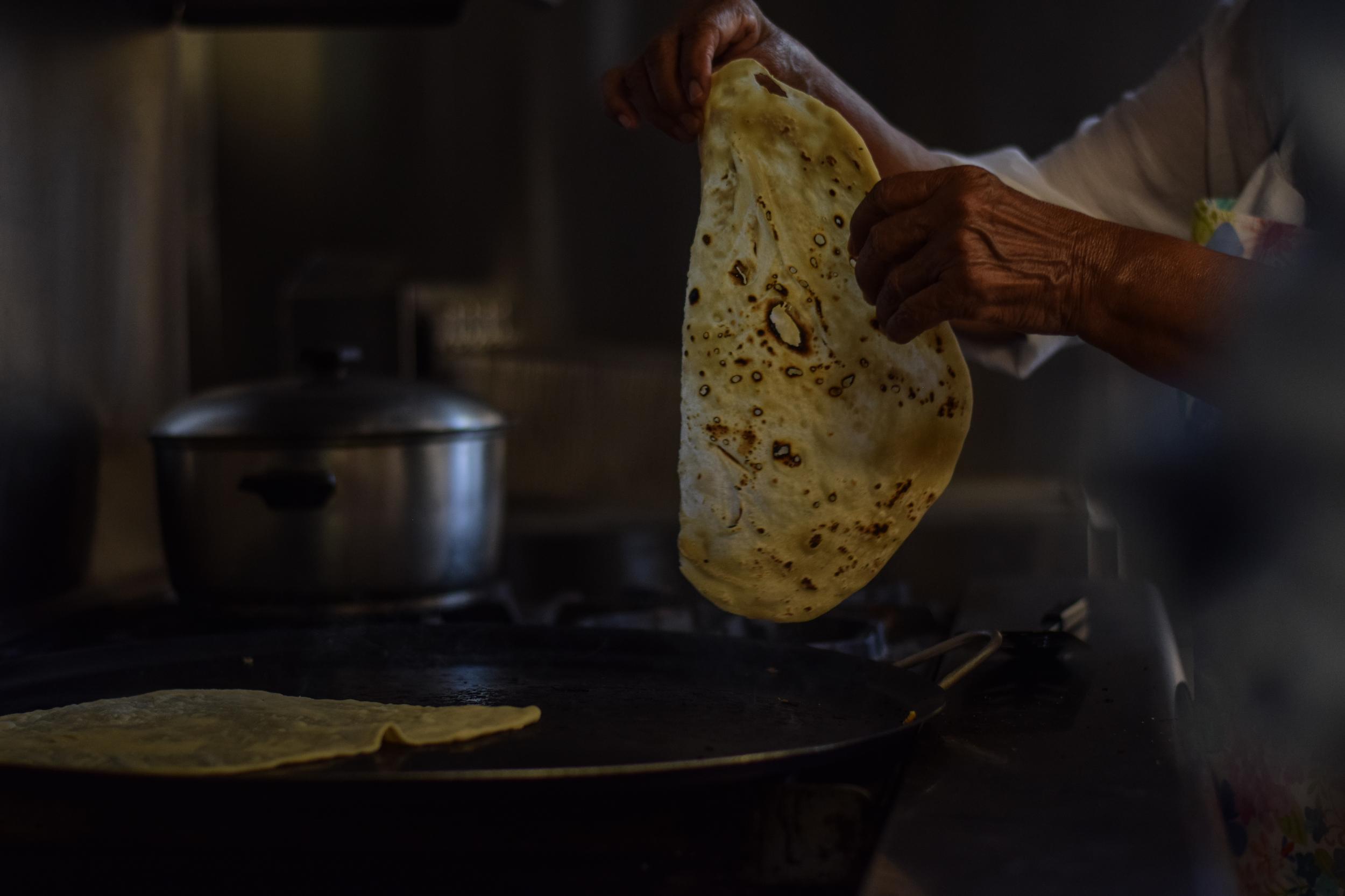 Making homemade tortillas
