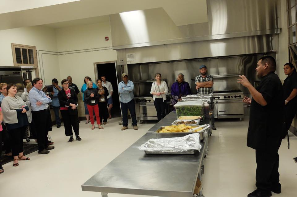 Brian Hendricks from Desert Rain Cafe shares traditional and contemporary Tohono O'odham dishes with a group of guests