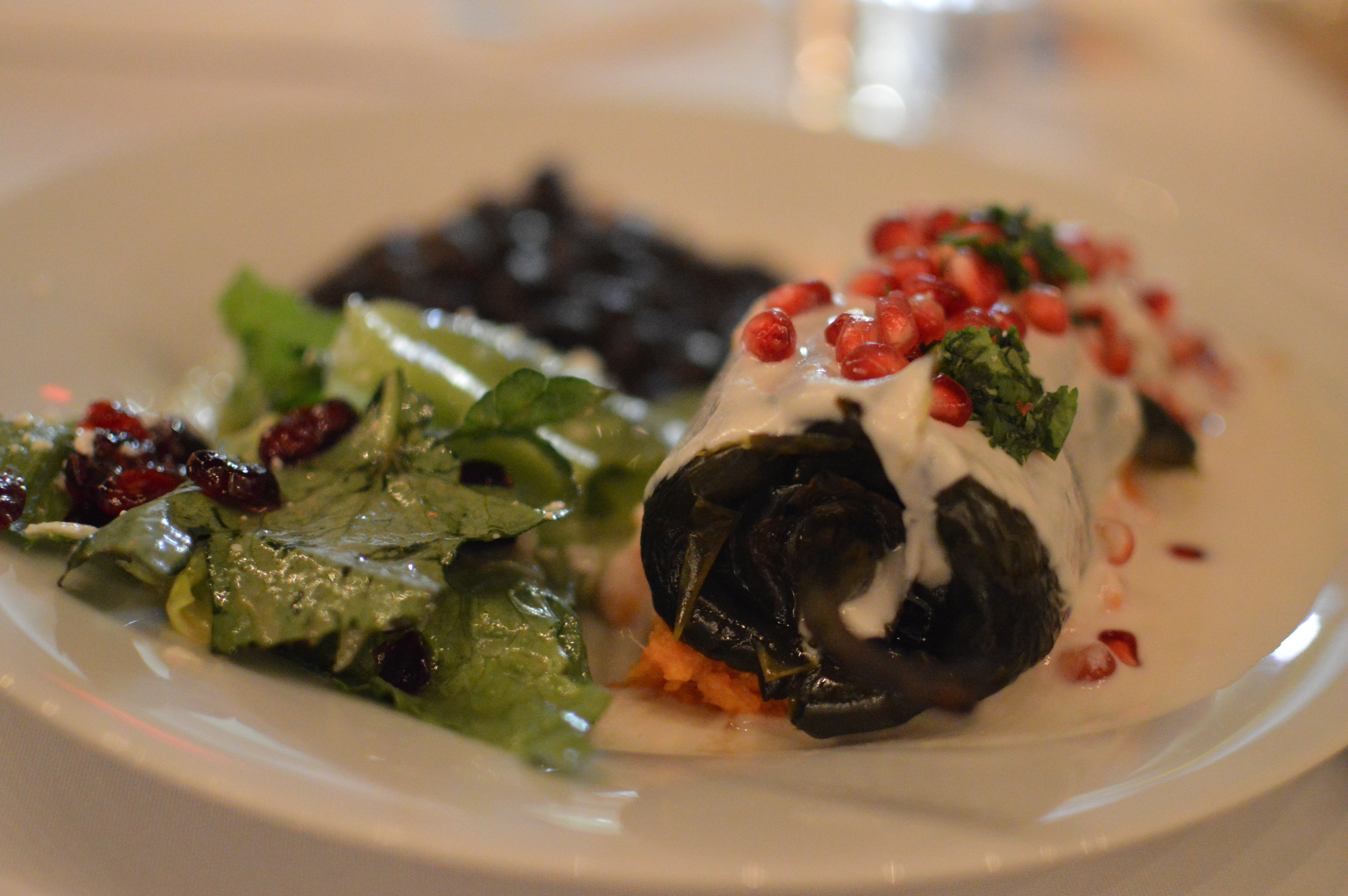 Chile en Nogada, a traditional Mexican dish, served at a wedding