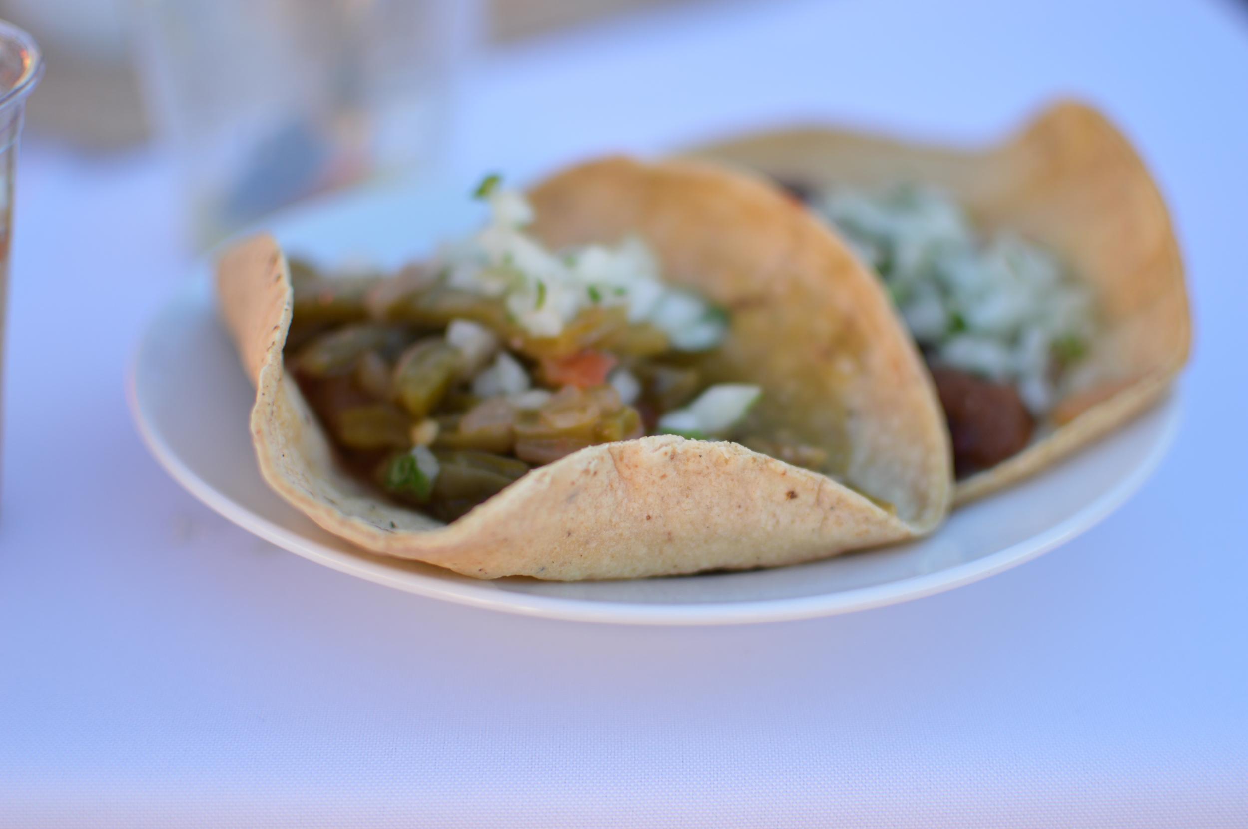 Gourmet tacos with nopales (cactus) and jamaica (hibiscus)
