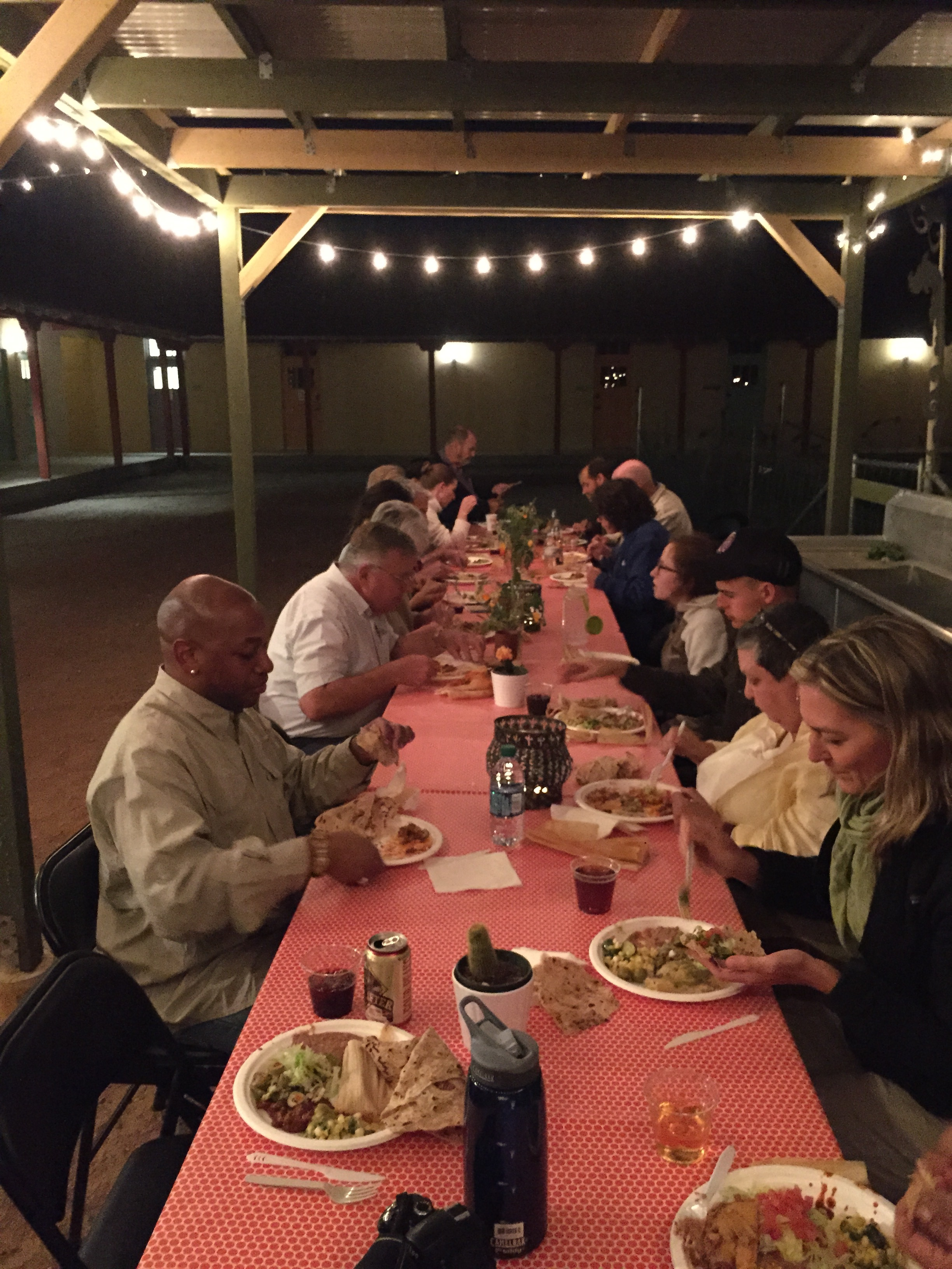 An outdoor meal in our courtyard during the Southwest Folklife Alliance Ethnographic Fieldschool