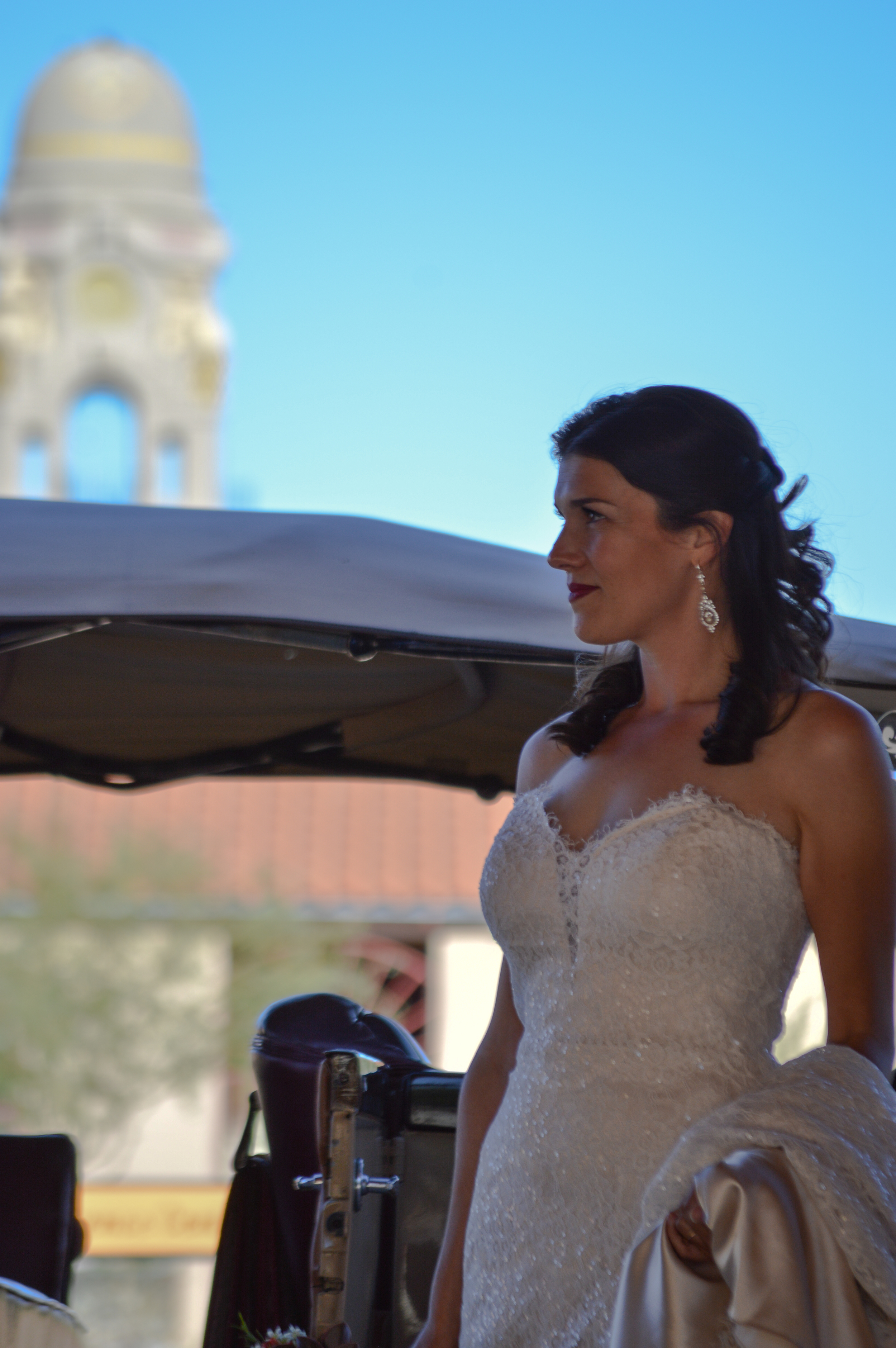 A bride in our courtyard before her wedding ceremony