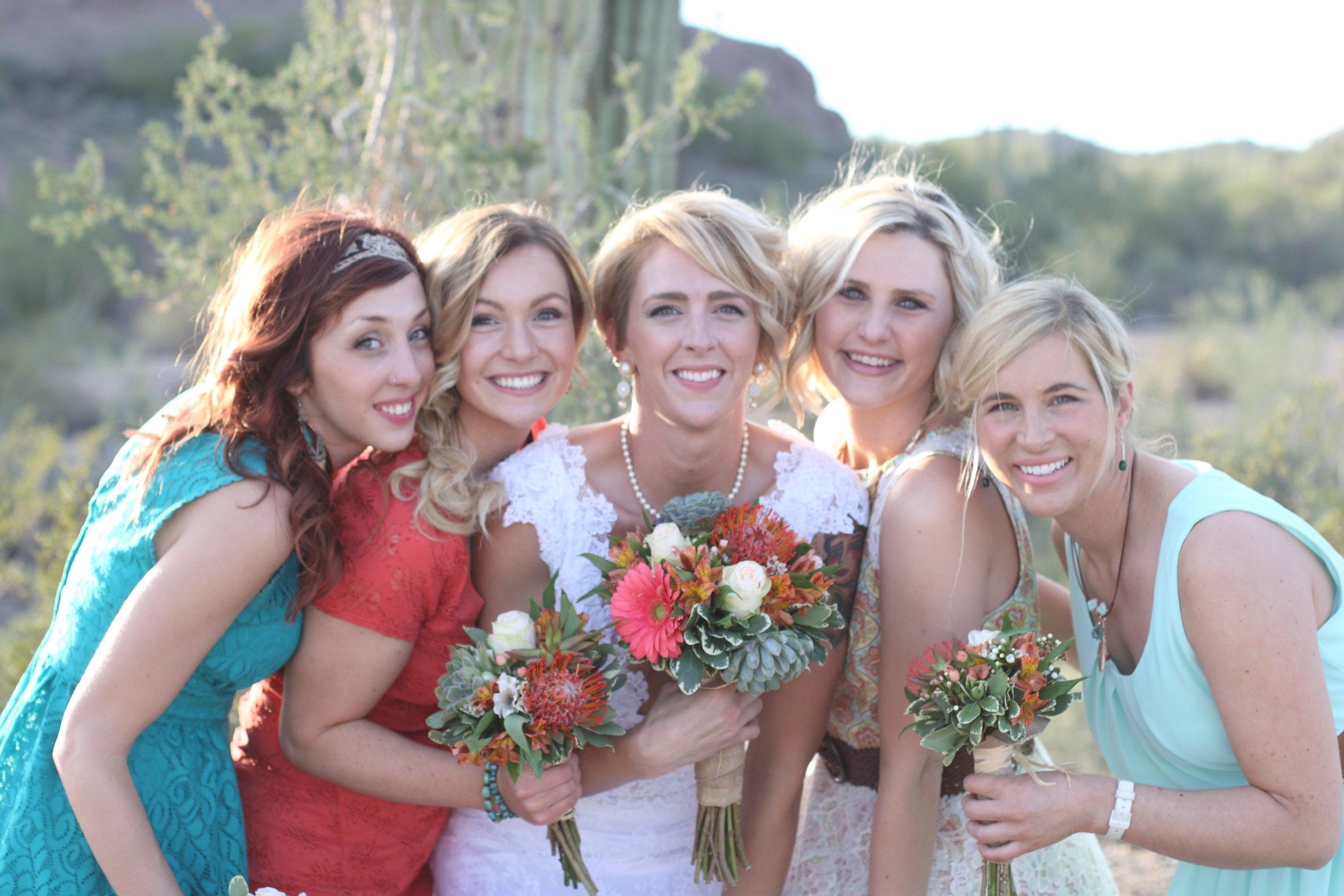 A bride and friends after a wedding ceremony on the Ajo Scenic Loop, ten minutes from the Conference Center