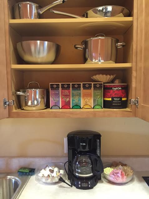 The bunkhouse kitchen is stocked with everything you need for a morning cup of coffee or team, and pots, pans, dishes, and utensils for cooking.
