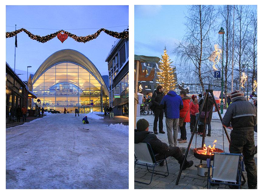 Izq. Biblioteca pública de Tromso diseñada por los arquitectos noruegos HRTB AS Arkitekter MNAL / Der. Mercado semanal en el centro de Tromso