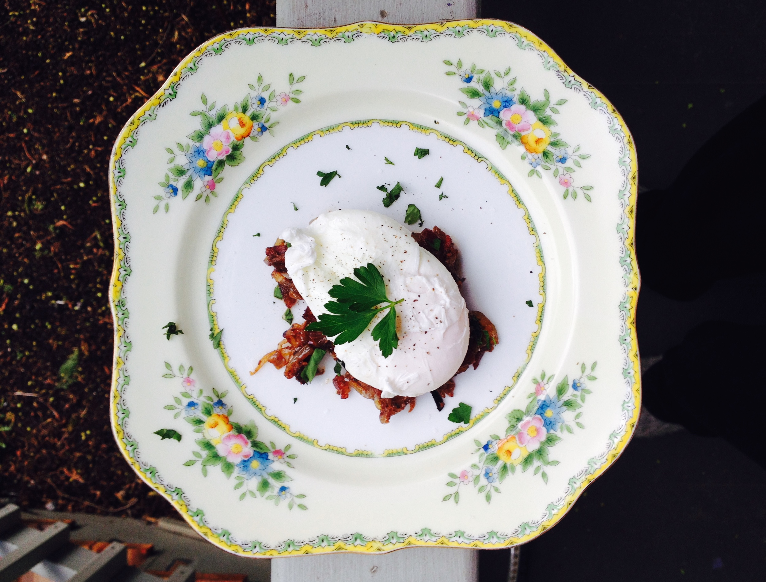 My (Orthodox) Great Grandmother's China topped with Chicken Liver and a Poached Egg... She might have swooned to see bacon on her plates.