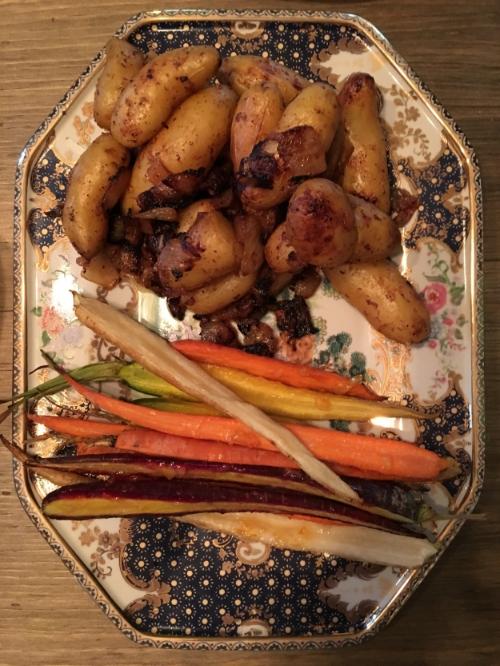 Fingerling Potatoes & Carrots for Sunday Dinner.